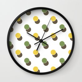 Yellow Green Spot Dot Geometric Print Wall Clock