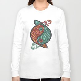 Pices Zodiac Symbol in yin yang Long Sleeve T-shirt