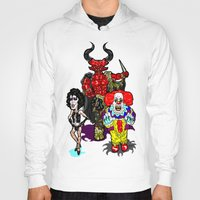 pennywise Hoodies featuring Triple Tim Treat! Tim Curry as Pennywise, Legend & Frankenfurter in Rocky Horror picture Show by beetoons