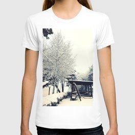 White Winter Snow Swing Chair T-shirt