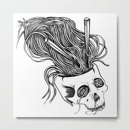 Noodles Skull Metal Print