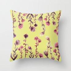 yellow back, pink nature Throw Pillow
