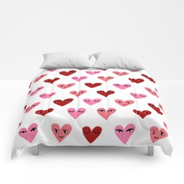 Heart love valentines day gifts hearts with faces cute valentine red and pink Comforters