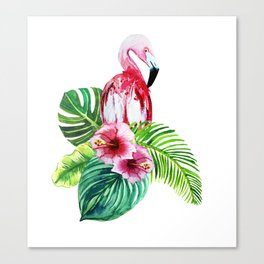 set of watercolor prints of exotic leaves and pink flowers with pink flamingos Canvas Print