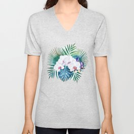 Tropical leaves and orchid flowers design Unisex V-Neck