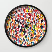it crowd Wall Clocks featuring crowd by cheryl warrick designs