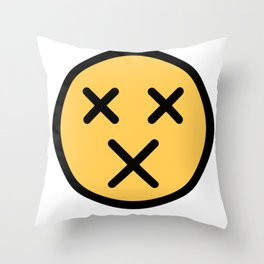 Smiley Face   X Crossed Out Mouth And Eyes Throw Pillow
