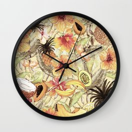 My Sepia Tropical Summer Hibiscus And Fruits Garden - Jungle Pattern Wall Clock
