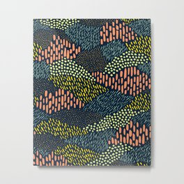Dashes and dots // abstract pattern Metal Print