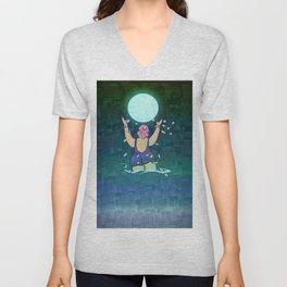 Bathing somewhere under the Moon Unisex V-Neck