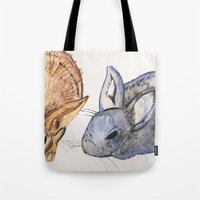 rabbits Tote Bags featuring rabbits by 5CUZ1