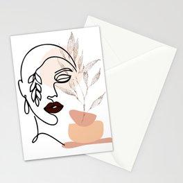 Female Line Art, Single Line Floral Art, Woman's Face Drawing, Botanical Prints, Leaf Face Art Print Stationery Cards