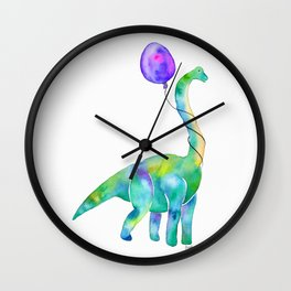 brachiosaurus with balloon Wall Clock