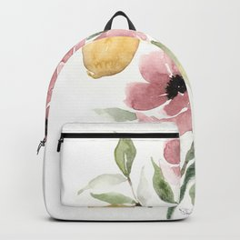 Watercolor-poppies-and-lemons Backpack