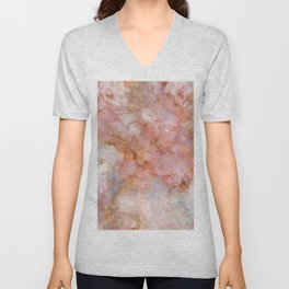 Beautiful & Dreamy Rose Gold Marble Unisex V-Neck