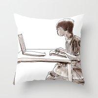 gamer Throw Pillows featuring Gamer by Jonas Ericson