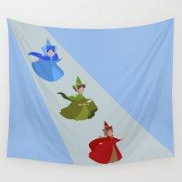 fairies Wall Tapestries featuring 3 Fairies (Blue)  by karla estrada