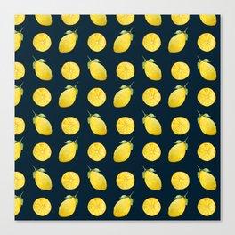 Watercolor Lemon Pattern Canvas Print