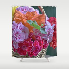 Basket of Geraniums Shower Curtain