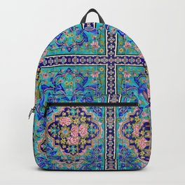 Turquoise Floral tile Backpack