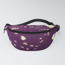 small colored hearts flying white heart in dark purple sunshine Fanny Pack