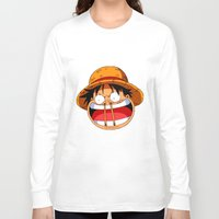 luffy Long Sleeve T-shirts featuring Luffy & Nose Sticks! by Orfik