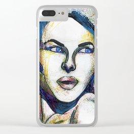 Pop Art Woman Clear iPhone Case