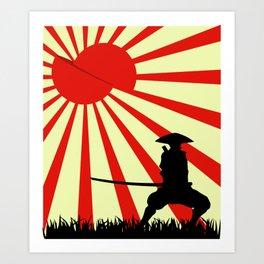 Japanese Art Sun Samurai Warrior Bushido Martial Arts Art Print