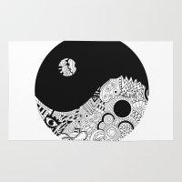 yin yang Area & Throw Rugs featuring yin yang by martiirod