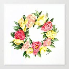 Peony Wreath Canvas Print