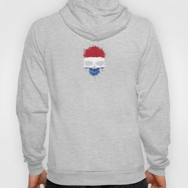 Flag of The Netherlands on a Chaotic Splatter Skull Hoody