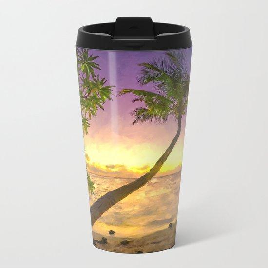 Tropical sunset beach with palms Metal Travel Mug