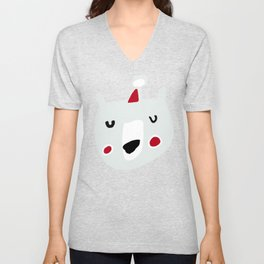 Cute holiday bear white Unisex V-Neck