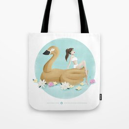 Summer Pool Party - Gold Swan Float A Tote Bag