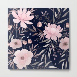 Modern, Floral Prints, Pink and Navy Blue, Art for Walls Metal Print