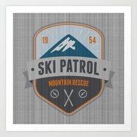 ski Art Prints featuring Ski Patrol by Nezz