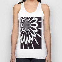 blankets Tank Tops featuring Black & White Modern Flower by 2sweet4words Designs
