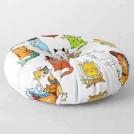 Fairy cats. Whimsical fantastic magic cute creatures. Floor Pillow