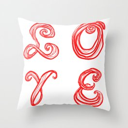 LOVE word art fabric font red letters inspired by Love Park in Philadelphia Throw Pillow