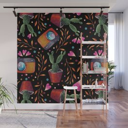 Photography Pattern, Hand Drawn Illustration with Camera, Cactus, Shooter Colorful Design, Black Red Wall Mural
