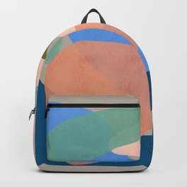 Shapes and Layers no.30 - Large Organic Shapes Blue Pink Green Gray Backpack