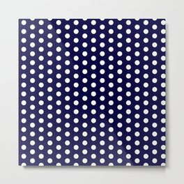 White dots in dark blue background Metal Print