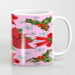 POINSETTIA SNOWFLAKES HOLLY HOLIDAY PINK DESIGN Coffee Mug