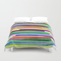 neon Duvet Covers featuring Colorful Stripes 1 by Mareike Böhmer