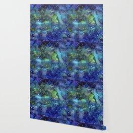 Space Galaxy Blue Green Watercolor Nebula Painting Wallpaper