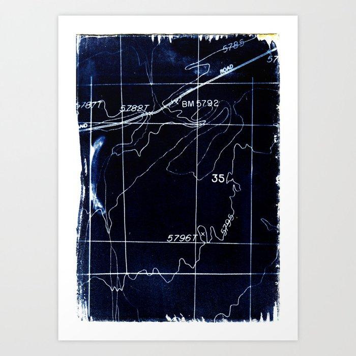 Cyanotype Map Art Print
