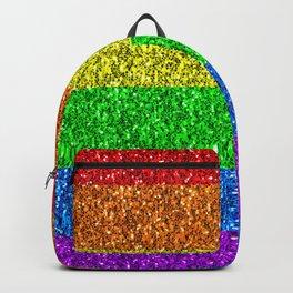 LGBT flag vibrant rainbow glitter sparkles Backpack