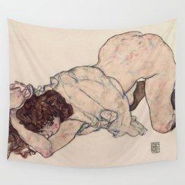 KNEELING GIRL, RESTING ON BOTH ELBOWS - EGON SCHIELE Wall Tapestry