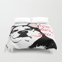 husky Duvet Covers featuring Offended Husky by ElmWood Grove
