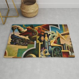 Classical Masterpiece 'Instruments of Power - Train, Airplane, Steam by Thomas Hart Benton Rug
